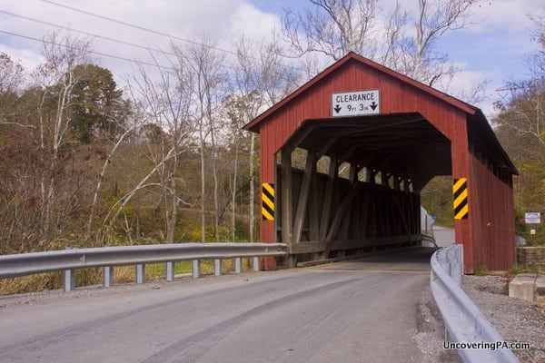 North Oriental Covered Bridge spans from Snyder County to Juniata County, Pennsylvania.