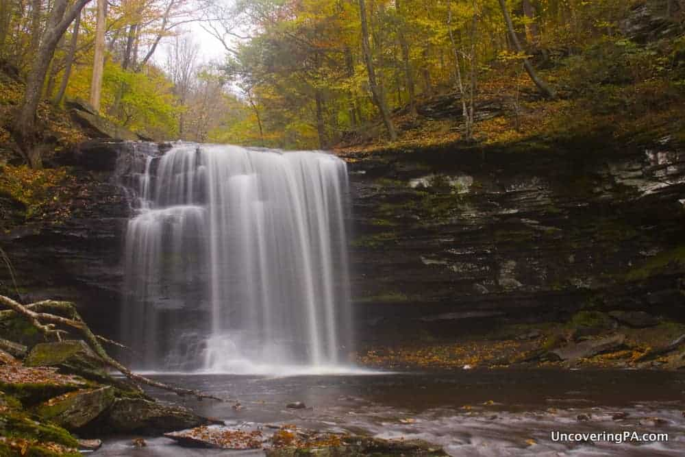 Harrison Wright Falls in Ricketts Glen State Park during autumn