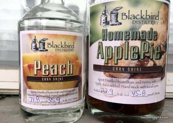 Apple Pie Cornshine and Peach Cornshine were definitely of the liquors at Blackbird Distillery.