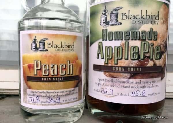 Apple Pie Cornshine and Peach Cornshine were definitely of the liquors at Blackbird Distillery.