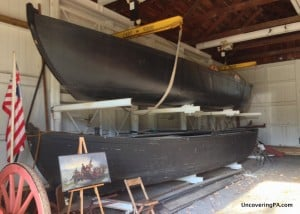 Replicas of the boats Washington used to cross the Delaware River as seen at Washington Crossing Historic Park in Pennsylvania.