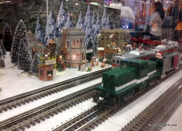 Model trains at Reading Terminal Market's Holiday Railroad in Philadelphia.