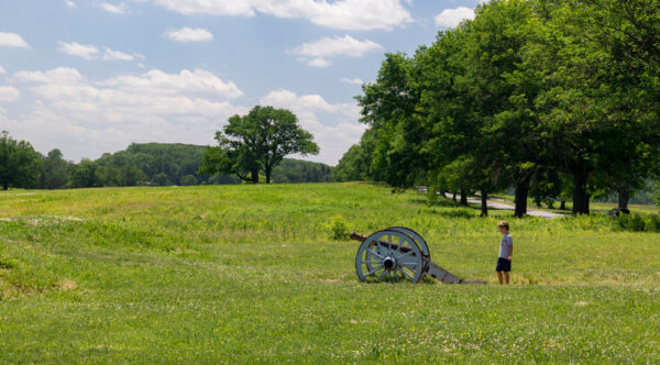 Kid with a canon at Valley Forge National Historical Park near Philadelphia, PA