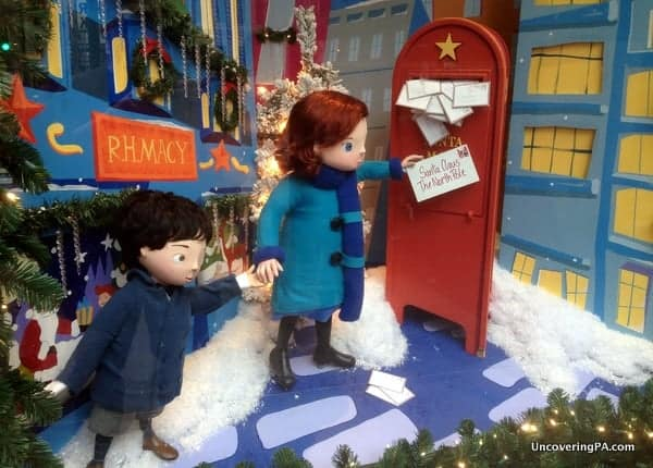 A Christmas window display outside of Macy's Department Store in Center City Philly.