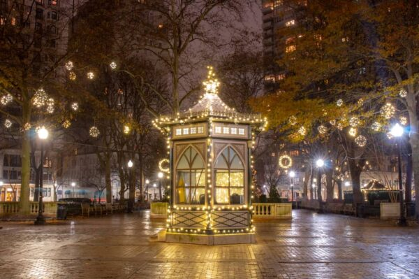 Rittenhouse Square in Philadelphia with Christmas decorations
