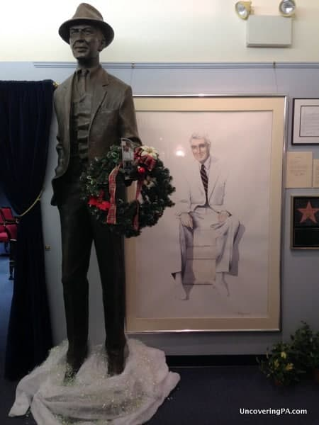 A statue and photo of Jimmy Stewart welcomes you to The Jimmy Stewart Museum in Indiana, Pennsylvania.