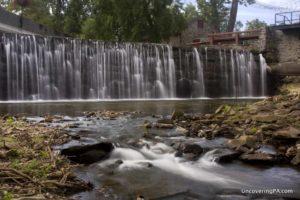 Aquetong Creek Dam Waterfall in New Hope, Pennsylvania.