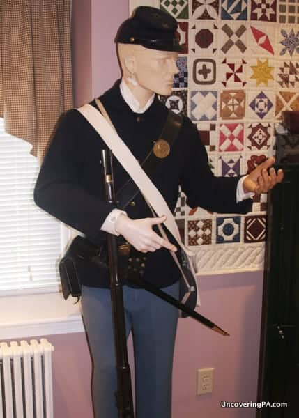 An authentic Civil War uniform on display at the Bucks County Civil War Museum in Doylestown, Pennsylvania.