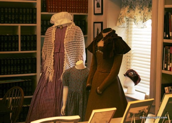 Period dresses on display at the Bucks County Civil War Museum in Doylestown, Pennsylvania.