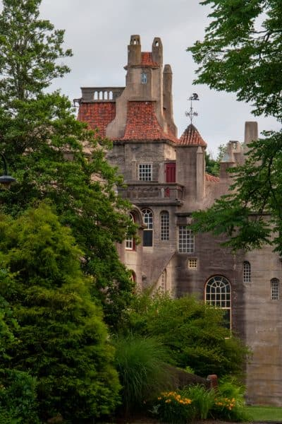 Looking through the trees towards Fonthill Castle in Bucks County, Pennsylvania