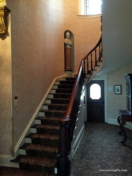The grand stairwell inside the Harris-Cameron Mansion in Harrisburg, Pennsylvania.