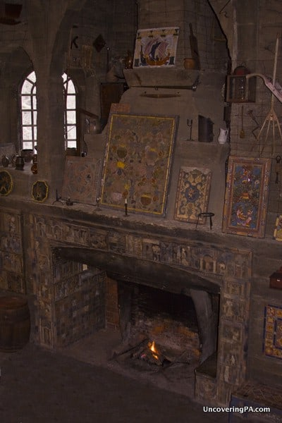 A large fireplace inside the Moravian Pottery and Tile Works in Doylestown, PA