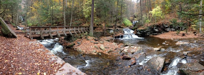 A panoramic shot of Waters Meet in Ricketts Glen State Park