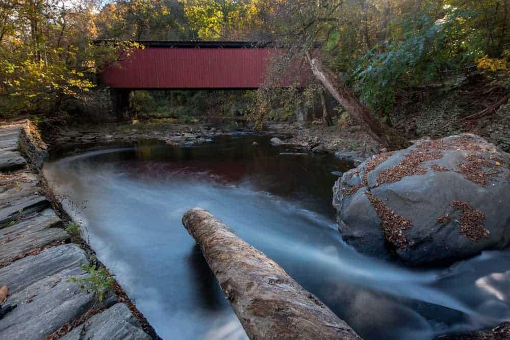 Waterfall at Thomas Mill Covered Bridge in Philadelphia, PA