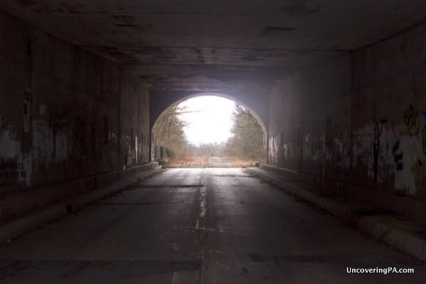 Looking out from Rays Hill Tunnel onto the Abandoned PA Turnpike.