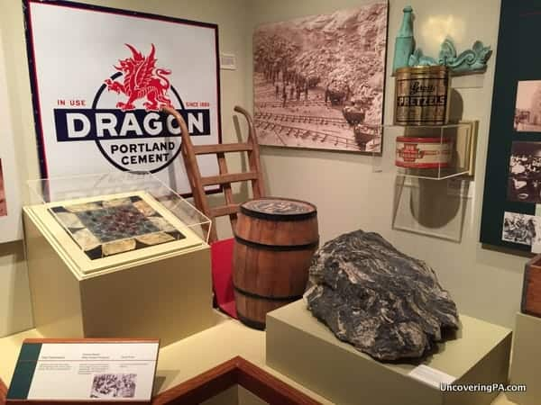 A display featuring several local industries at the Lehigh Valley Heritage Center in Allentown, Pennsylvania