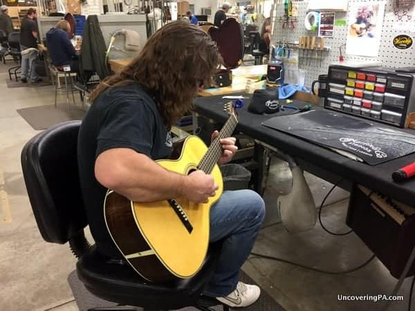 Martin Guitar Factory Tour worker