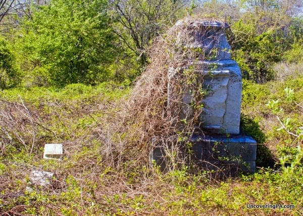 An overgrown gravestone in Mount Moriah Cemetery, one of the best abandoned places in Philadelphia