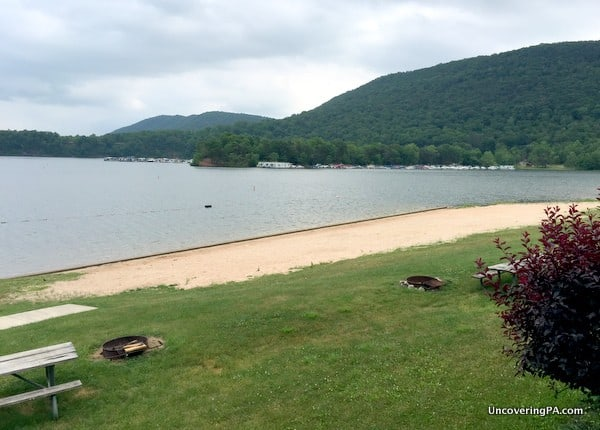 The beach at Lake Raystown Resort