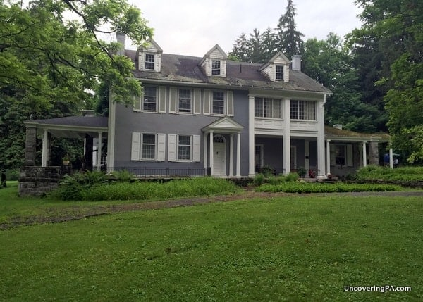 The exterior of the Boal Mansion in Boalsburg, Pennsylvania.
