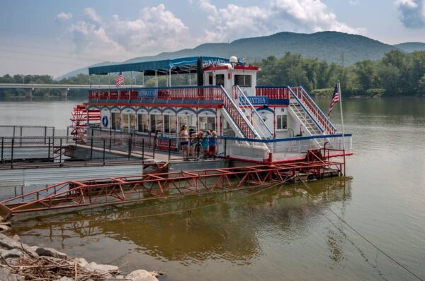 The Hiawatha Riverboat at its dock in Williamsport, PA