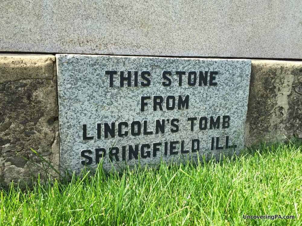 The Lincoln Stone in Lewistown's Monument Square.