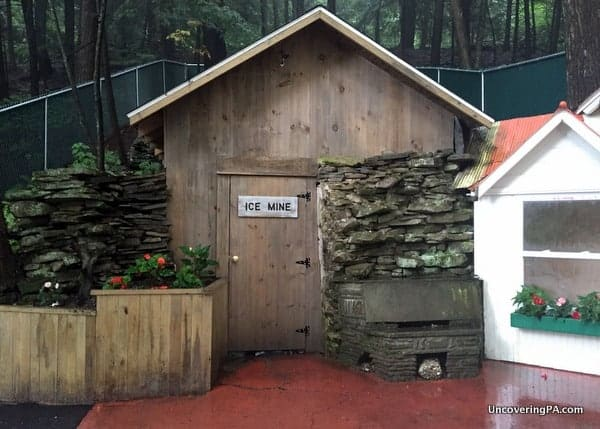 The entrance to the Coudersport Ice Mine in Potter County, Pennsylvania.