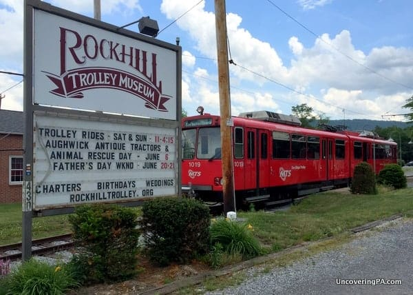 The entrance to the Rockhill Trolley Museum in Huntingdon County, Pennsylvania.