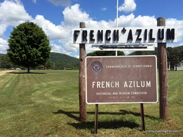 The entrance to French Azilum near Towanda, Pennsylvania.