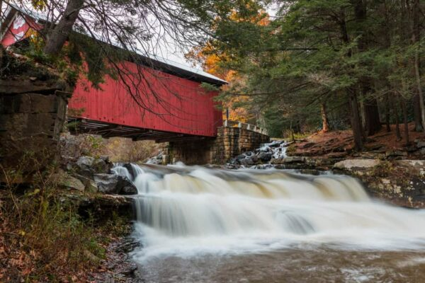 Packsaddle Covered Bridge during peak fall colors in PA