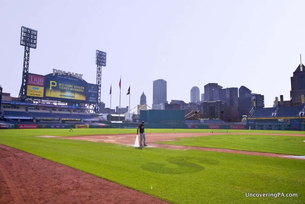 View from Pirates Dugout on a tour of PNC Park in PIttsburgh, PA