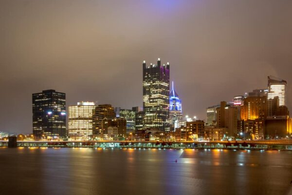 The Smithfield Street Bridge is a great spot for photos of downtown Pittsburgh, PA