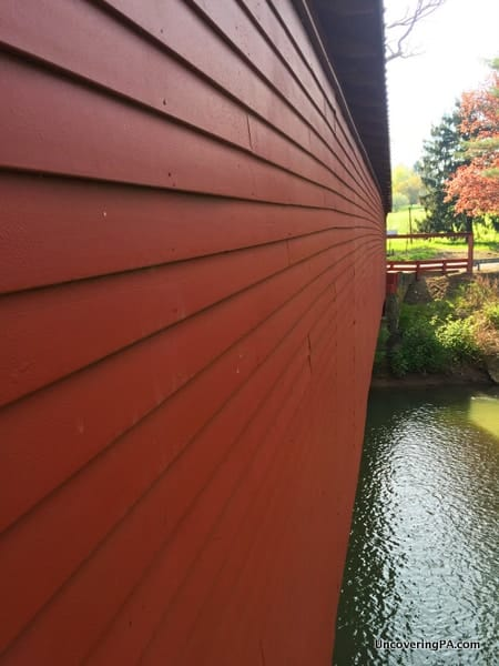 Side view of Bells Mills Covered Bridge, Westmoreland County, PA