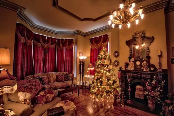 The parlor of Hegarty Mansion decorated for Christmas.