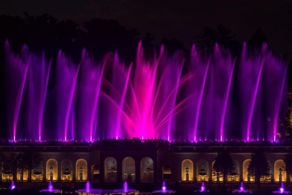 Illuminated fountain show at the Main Fountain Garden in Longwood Gardens, Kennett Square, PA