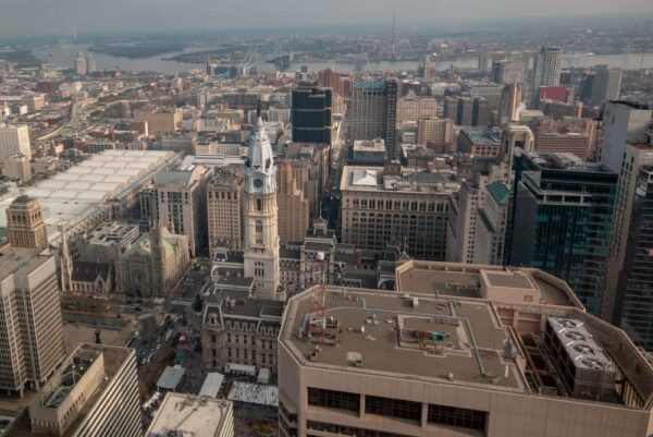 View from the highest of Philadelphia's observation decks