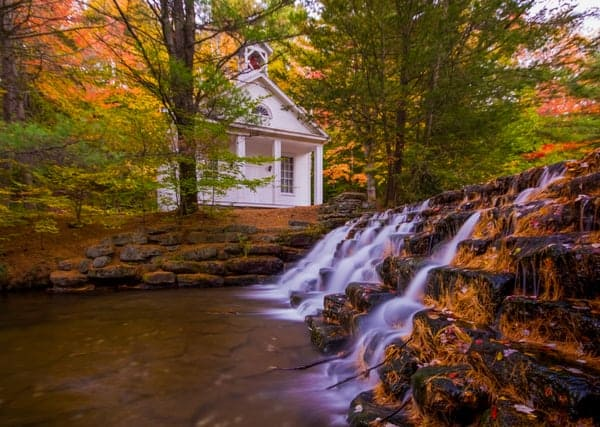 Hickory Run Chapel in Hickory Run State Park in Autumn