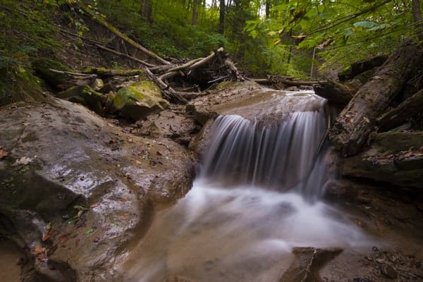 Waterfall on Falling Stream Run near New Castle, Pennsylvania.