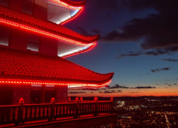 A close up view of the Reading Pagoda at night.