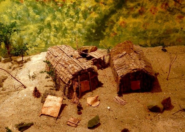Miniature Lenape village at Pocono Indian Museum
