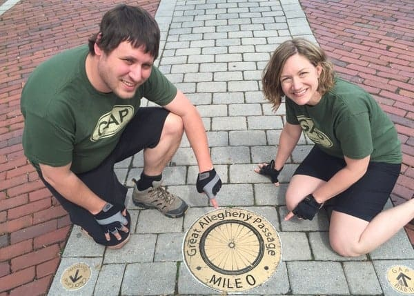 The mile zero marker on the Great Allegheny Passage in Cumberland, MD.