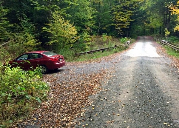 Parking for Hounds Run Falls in Lycoming County, Pennsylvania