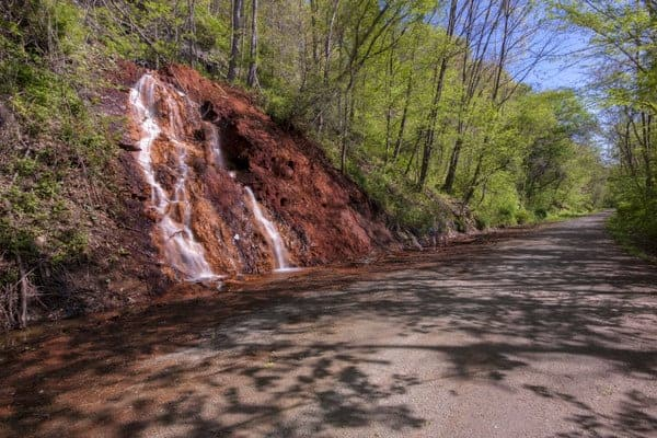 The Red Waterfall on Great Allegheny Passage in Pennsylvania