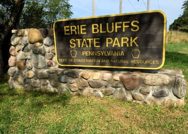 The entrance to Erie Bluffs State Park near Erie, Pennsylvania