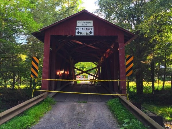 Visiting Jud Christian Covered Bridge in Columbia County, Pennsylvania