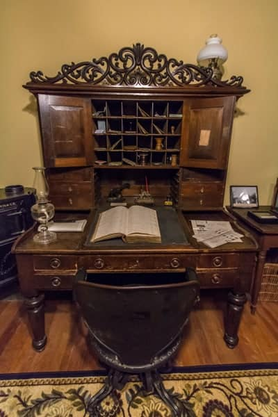 Elias Baker desk at the Baker Mansion History Museum.