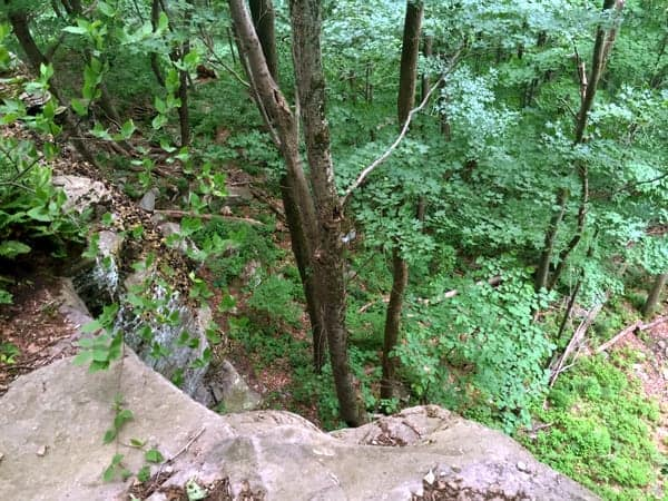 Hiking the Cliff Trail in Prompton State Park.