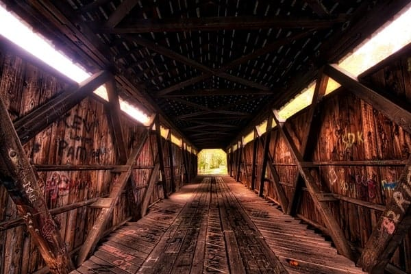 Interior of Kidd's Mill Covered Bridge in Mercer County, Pennsylvania