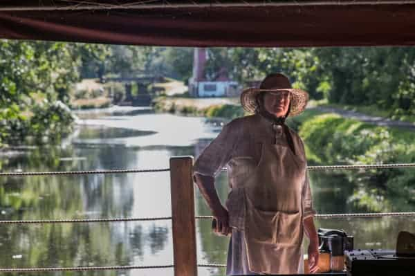 Riding a canal boat near Bethlehem, PA