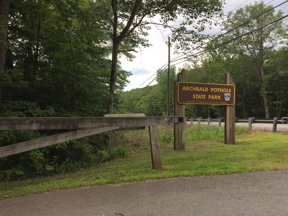 Entrance for Archbald Pothole State Park.